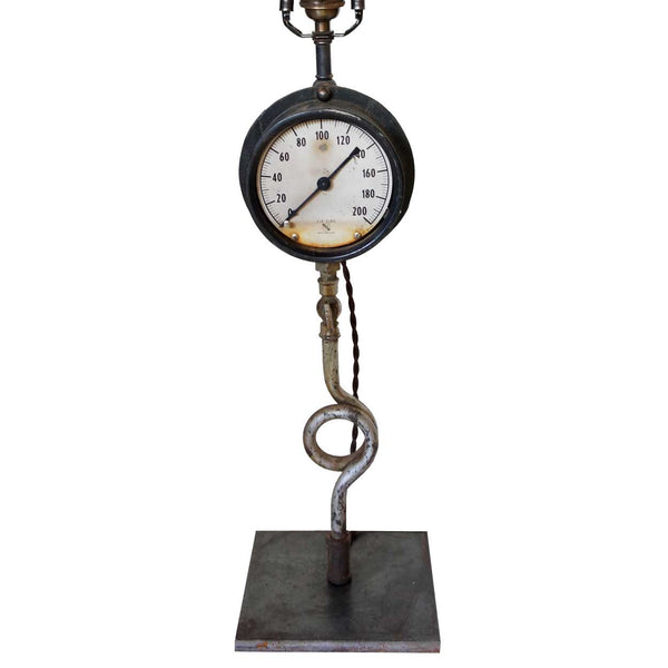 American Ashcroft Industrial Pressure Gauge as a Table Lamp Base