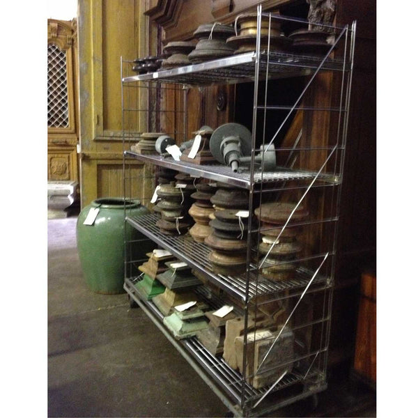 American William Hodges & Co. Industrial Steel Wire Shelf on Wheels