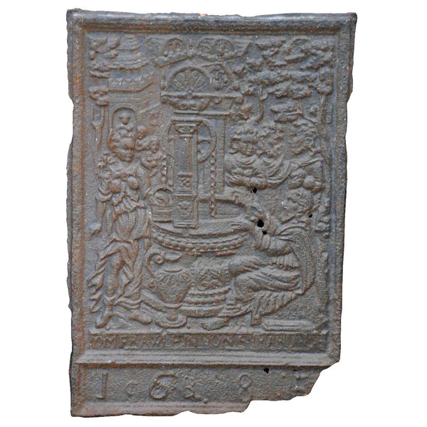 Swedish Baroque Cast Iron Stove Plate