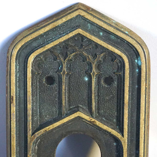 Large American CORBIN Gothic Revival Cast Brass Door Handle and Plate