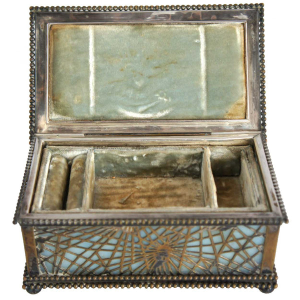 American Tiffany Studios Bronze and Slag Glass Pine Needle Jewelry Box