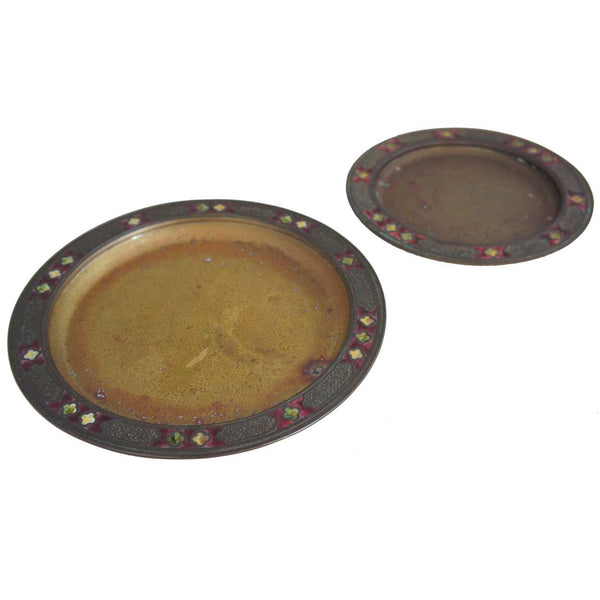 Set of Two Graduated American Tiffany Furnaces Favrile Bronze and Enamel Plates