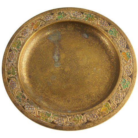 American Tiffany Studios Bronze Dore and Enameled Grape Leaves Plate