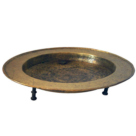Early Spanish Engraved Brass Footed Round Brazier (Brasero)