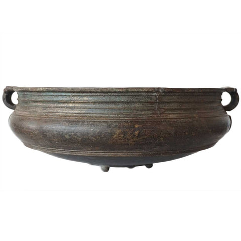South Indian Solid Bronze Cooking Vessel (Urli) with Handles