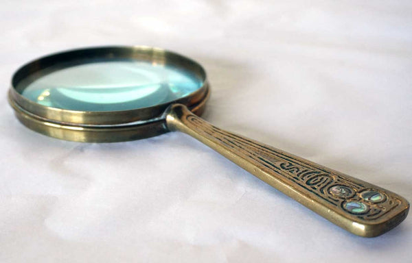 American Tiffany Studios Gilt Bronze Abalone Pattern Magnifying Glass
