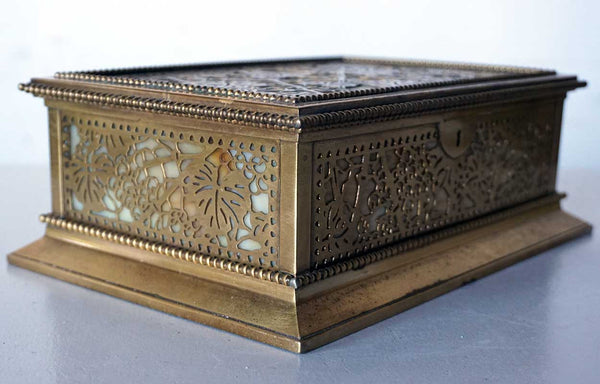 American Tiffany Studios Bronze Dore Etched Metal and Glass Grapevine Pattern Desk Box