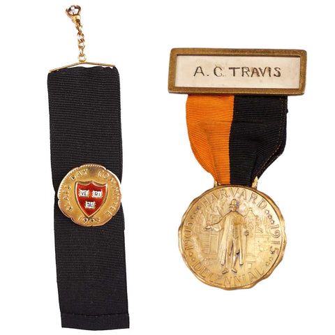 Two American Gilt Metal Harvard School Medals on Ribbons