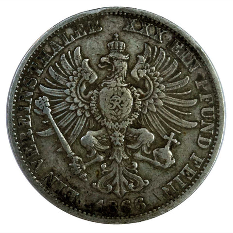German Prussian Wilhelm I Silver Thaler Coin 1866A