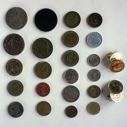 Collection of 22 Miscellaneous Foreign Coins and Coin Earrings