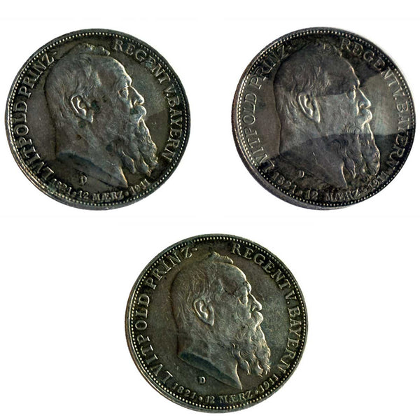 Set of Three German State Bavarian Silver Coins 1911