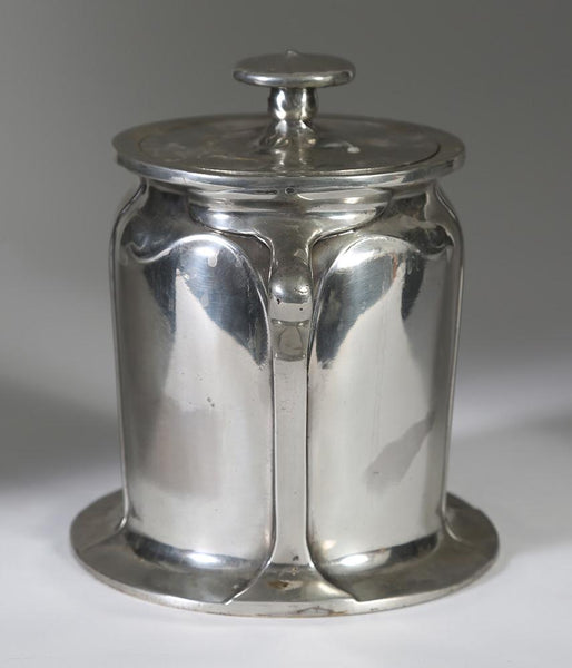 English Charles Voysey for Liberty & Co. Tudric Art Nouveau Pewter Biscuit Barrel