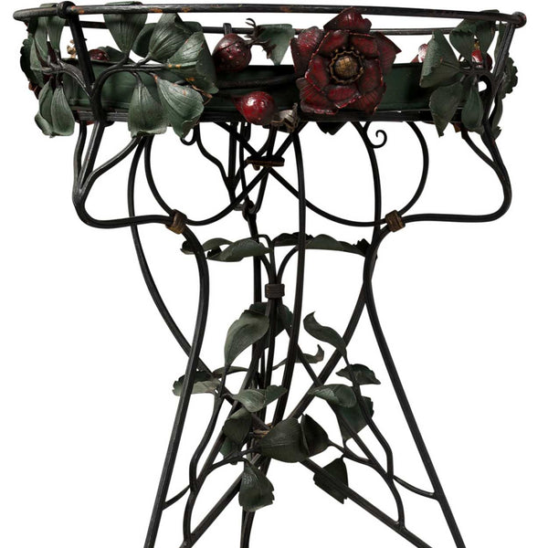 Pair of French Art Nouveau Style Painted Wrought Iron Jardinière / Ferniere Stands