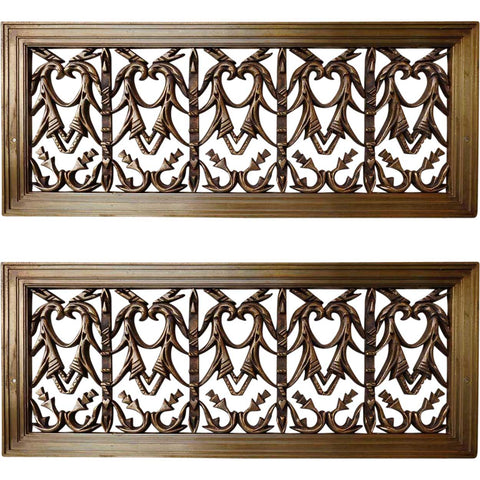 Pair American Neoclassical Colorado National Bank Building Bronze Register Grilles