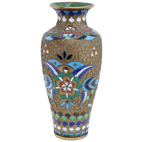 Small Chinese Cloisonné Enamel on Copper Baluster Bud Vase