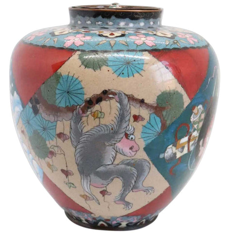 Large Japanese Meiji Cloisonne Enamel on Copper Monkey Ginger Jar