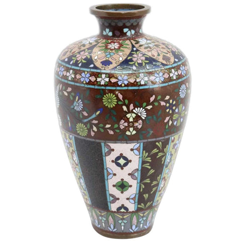 Small Japanese Meiji Cloisonne Enamel Goldstone on Copper Baluster Bud Vase
