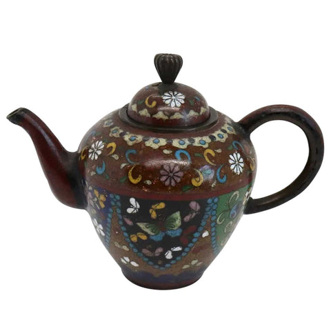 Miniature Japanese Meiji Cloisonne Brown Goldstone Enamel on Copper Teapot