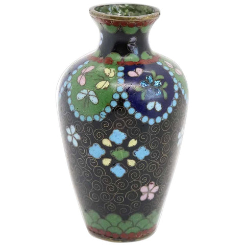 Small Japanese Meiji Cloisonee Enamel and Copper Baluster Bud Vase