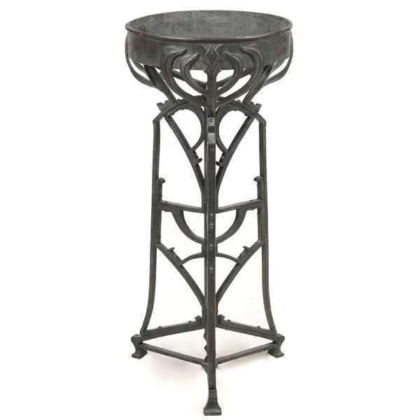 Large German Hans Eduard von Berlepsch-Valendas Copper Planter on Wrought Iron Stand