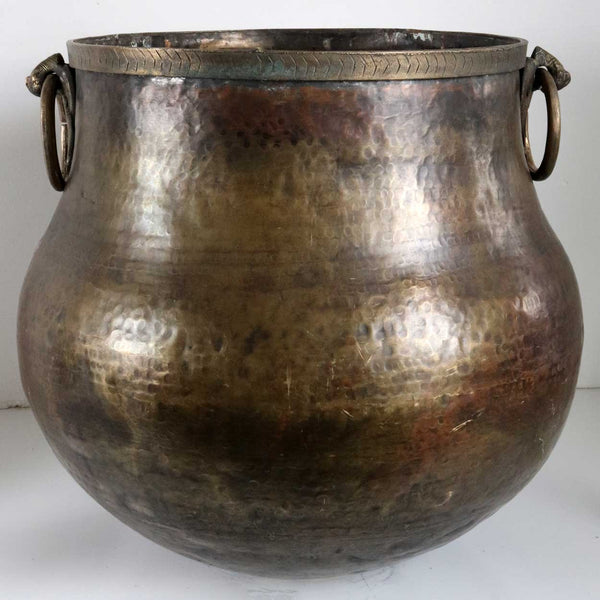 Large South Indian Hammered Brass Water Storage Pot / Planter