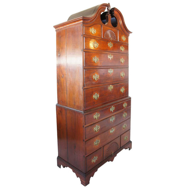 American New England Chippendale Walnut Bonnet Top Chest on Chest