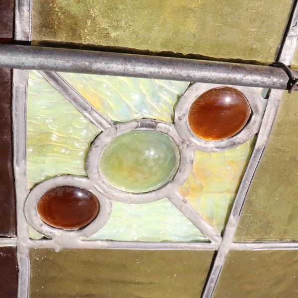 Set of Two American Healy and Millet Stained, Leaded and Uranium Glass Trinity Church Windows