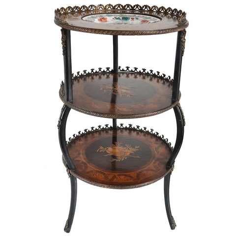 English Urquhart & Adamson Marquetry What-Not Side Table with Pottery Plate