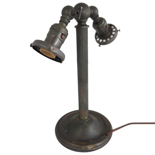 American Industrial Bronze Patina Two-Light Table Lamp
