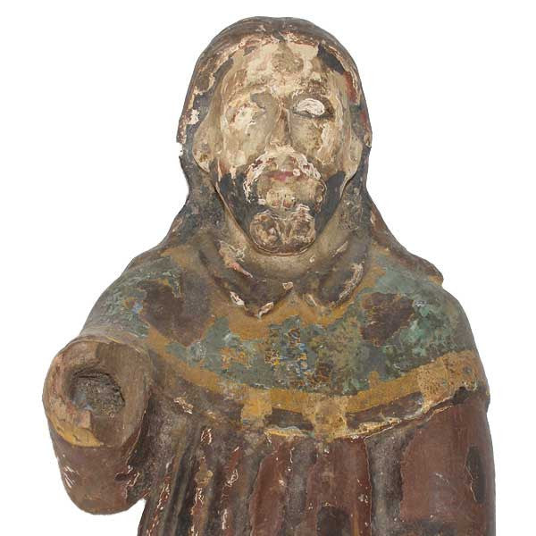 Spanish Colonial Painted Wood Saint Roch Santos Statue