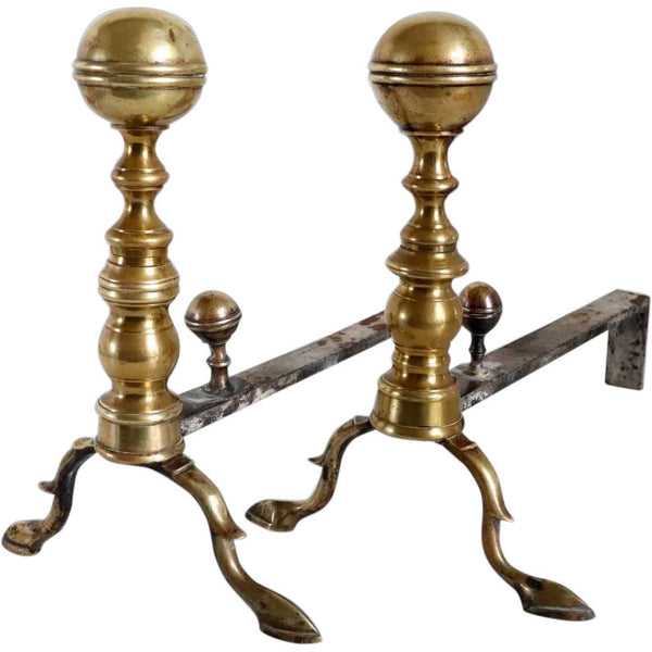 Pair of American Federal Brass Belted Ball-Top Fireplace Andirons