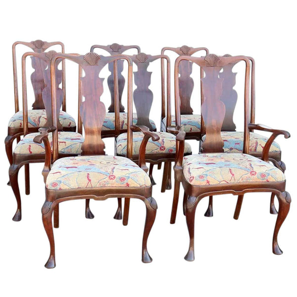 Set of Eight English Queen Anne Style Mahogany Upholstered Seat Dining Chairs