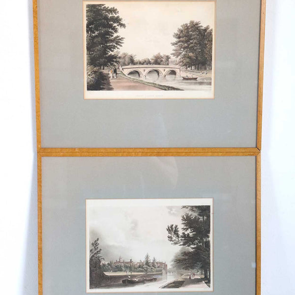 Pair English WILLIAM WESTALL Colored Aquatints, Trinity and Queen's College, Cambridge