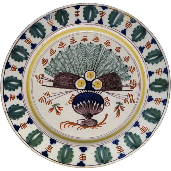 Early Dutch Delft Pottery Polychrome Peacock Pattern Pottery Charger