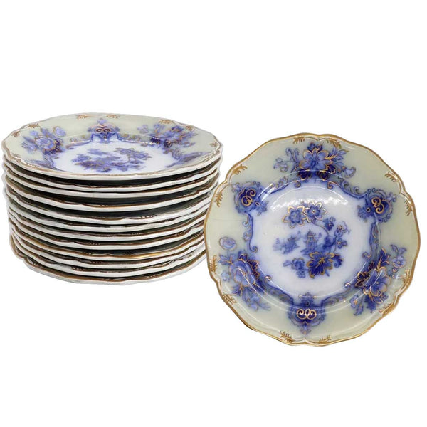 Set of 12 English Staffordshire Transferware Ironstone China Gilt and Flow Blue Dessert Plates