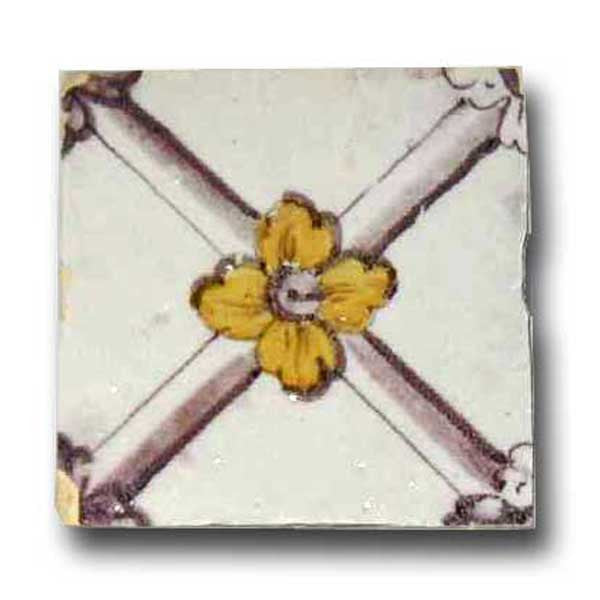 Portuguese Neo-Classical Tin Glazed Ceramic Tile (Azulejo)
