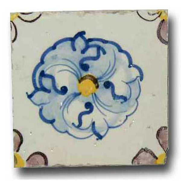 Portuguese Tin Glazed Pottery Azulejo Floral Tile (43 available)