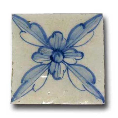 Portuguese Cobalt Tin Glazed Pottery Floral Azulejo Tile (35 available)