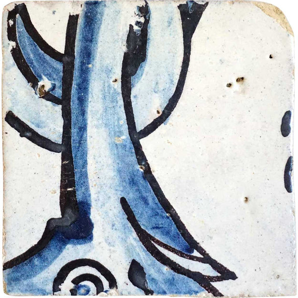 Portuguese Baroque Period Tin Glazed Pottery Tile (Azulejo)
