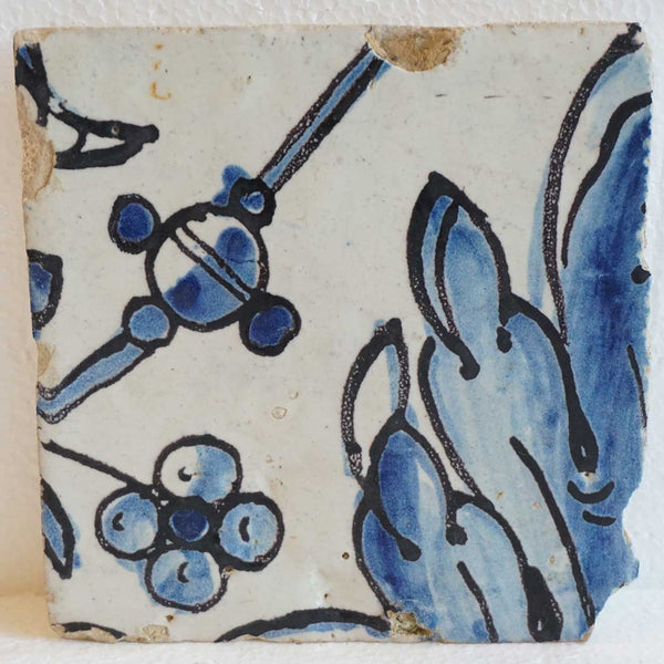 Rare Portuguese Baroque Tin Glazed Pottery Architectural Azulejo Tile