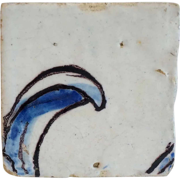 Portuguese Baroque Period Tin Glazed Ceramic Tile (Azulejo)