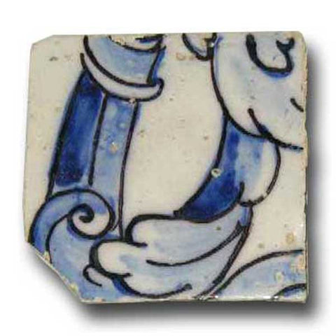 Portuguese Baroque Period Tin Glazed Ceramic Architectural Tile (Azulejo)