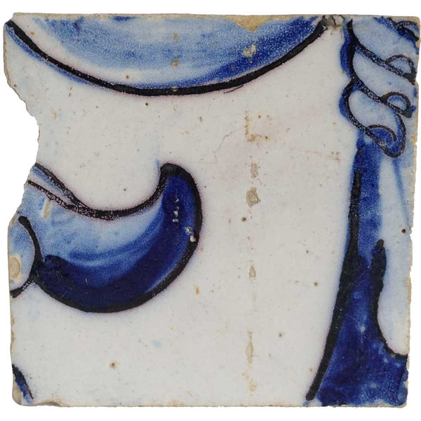 Portuguese Baroque Tin Glazed Ceramic Architectural Tile (Azulejo)