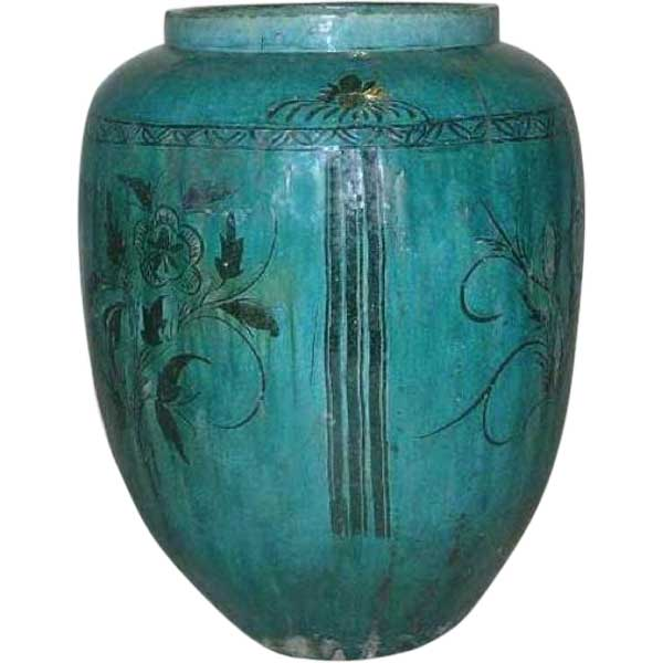 Large Chinese Hunan Green Glazed Pottery Vessel