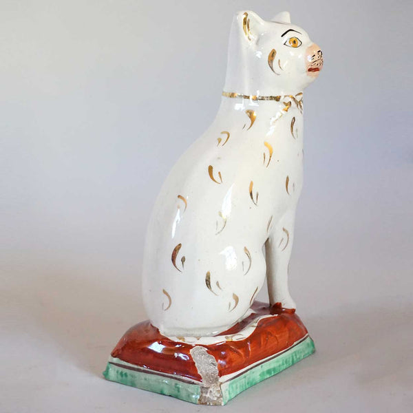 English Victorian Staffordshire Pottery Cat
