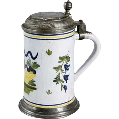 German or Scandinavian Pewter Mounted Faience Tankard