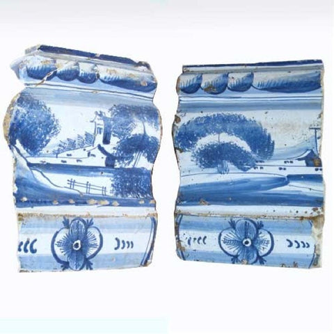Two Dutch Baroque Delft Blue and White Pottery Tile Fragments