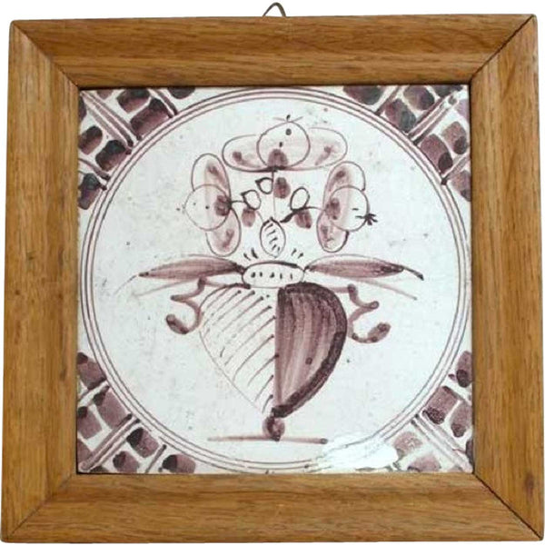 Framed Dutch Delft Puce and White Pottery Tile