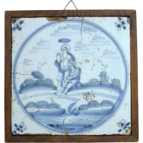 Framed Dutch Delft Blue and White Pottery Tile, Religious Scene