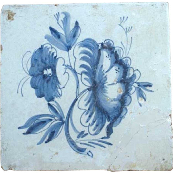 Dutch Delft Blue and White Floral Pottery Tile
